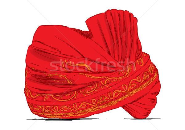 Indian tulband gebruikt weefsel goud hoed Stockfoto © Akhilesh