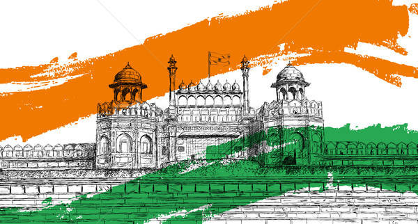 Indian Independence Day - Red Fort, India with Tricolor Flag Vec Stock photo © Akhilesh