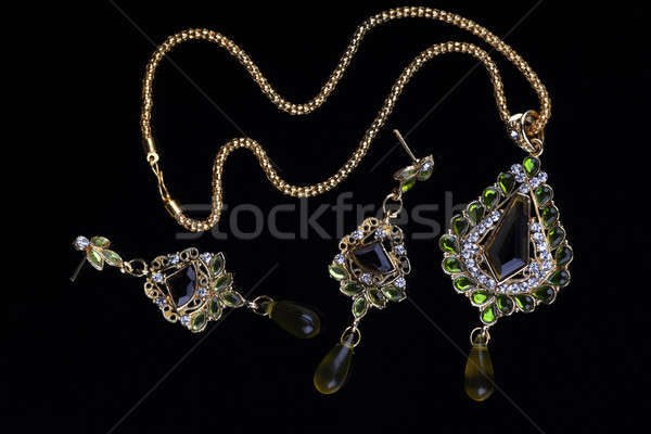Gold Jewelry with Necklace and Earrings Stock photo © Akhilesh