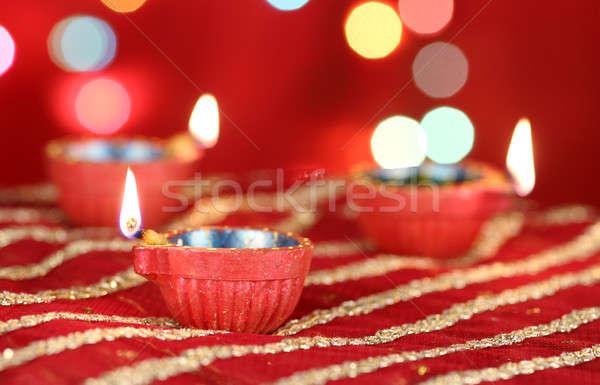 Stock fotó: Diwali · elmosódott · ünnepi · fények · tűz · fény