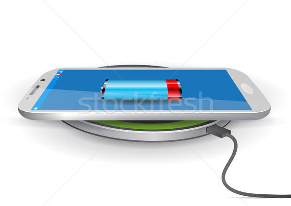 Wireless Battery Charger Pad with a Smartphone - Vector Illustra Stock photo © Akhilesh
