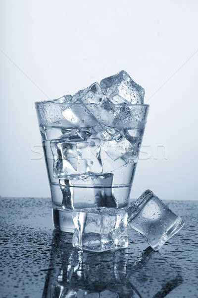 Chilled Glass of Water with Ice Cube and Water Drops Stock photo © Akhilesh