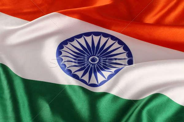 Primer plano indio bandera tricolor naranja signo Foto stock © Akhilesh