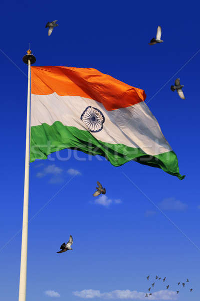 триколор индийской флаг небе оранжевый синий Сток-фото © Akhilesh
