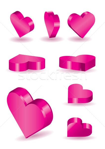 Set of 9 vector 3D heart shapes Stock photo © Akhilesh