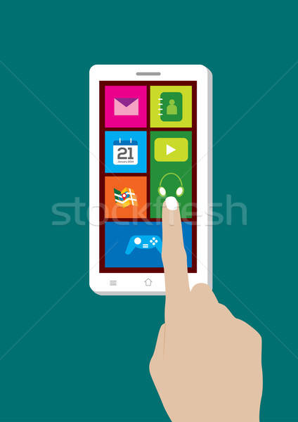 Modern Touchscreen Mobile Phone and Hand - Vector Illustration Stock photo © Akhilesh
