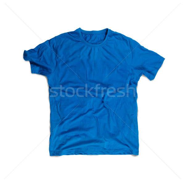 Foto d'archivio: Blu · tshirt · isolato · bianco · colore