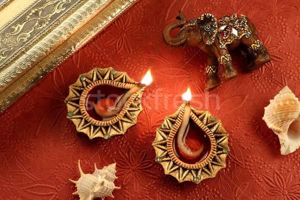 Indiai fesztivál diwali lámpa díszítések fény Stock fotó © Akhilesh