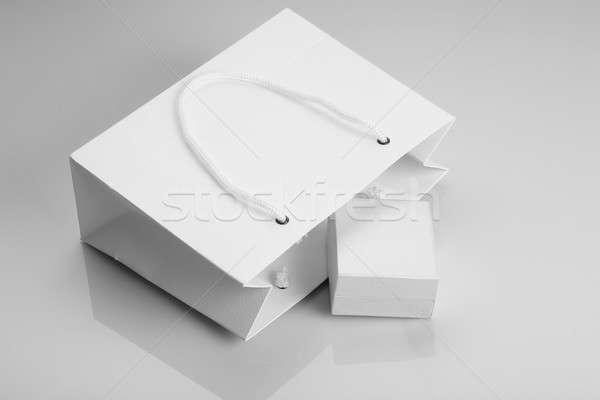 Fehér papír bevásárlószatyor ékszerek doboz Stock fotó © Akhilesh