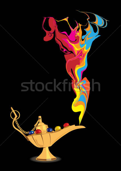 Aladdin's magic lamp with abstract genie figure Stock photo © Akhilesh