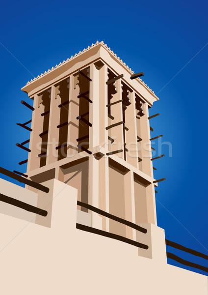 Historical Wind Tower Vector Illustration Dubai, United Arab Emi Stock photo © Akhilesh