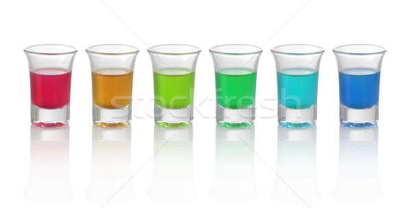Hat különböző szín italok szemüveg fehér Stock fotó © Akhilesh