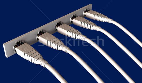 Beş ethernet kablolar soket liman Stok fotoğraf © albund