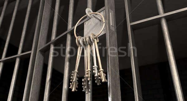 Celda de la cárcel puerta abierta claves primer plano bloqueo Foto stock © albund