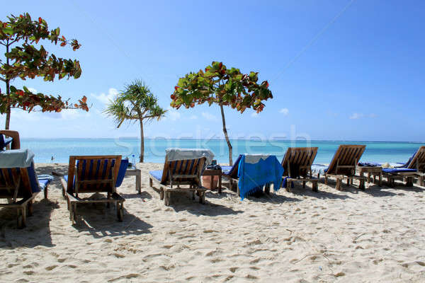 Stock photo: Zanzibar White Sandy Beach And Wooden Chairs