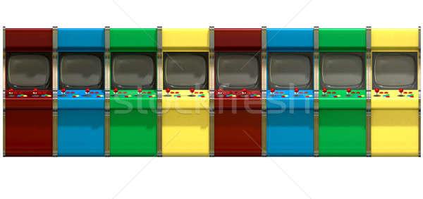 Rij vintage games gekleurd knoppen Stockfoto © albund