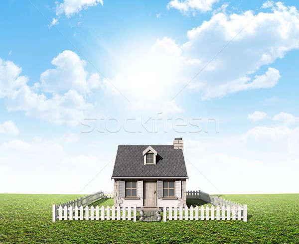 Cottage On Green Lawn Stock photo © albund