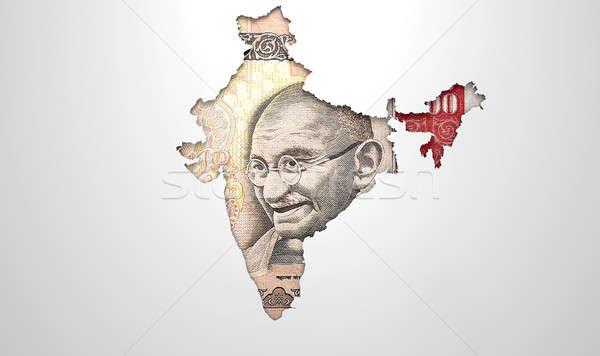 Recessed Country Map India Stock photo © albund