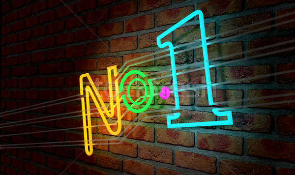 Neon Number One Sign On A Face Brick Wall Stock photo © albund