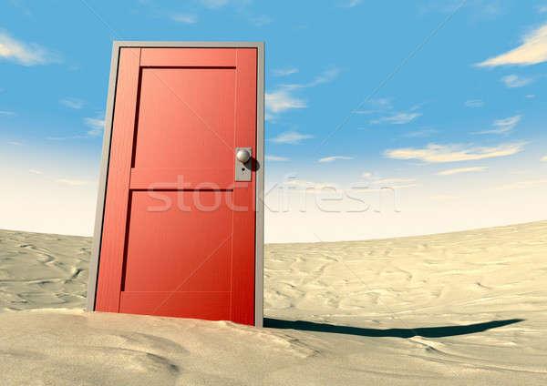 Rouge porte fermé désert bois peint Photo stock © albund