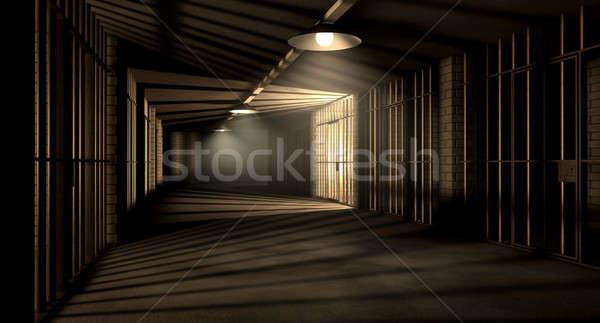 Gevangenis gang gevangenis nacht tonen Stockfoto © albund