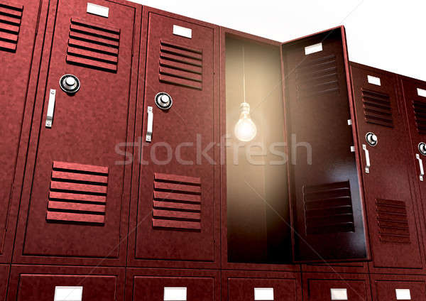 Stock photo: Red School Lockers With Light Bulb Inside Perspective