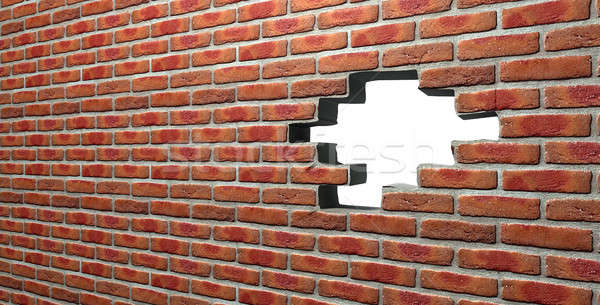 Stock photo: Face Brick Wall With Hole