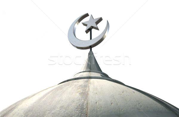 Stock fotó: Iszlám · minaret · közelkép · felső · mecset · kupola