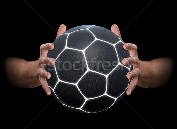 Mãos agarrando futebol par masculino futurista Foto stock © albund