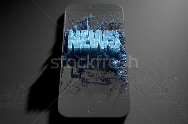 ニュース スマートフォン 微視的 クローズアップ 小 キューブ ストックフォト © albund