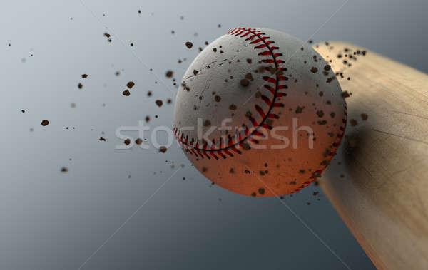Baseball Striking Bat In Slow Motion Stock photo © albund