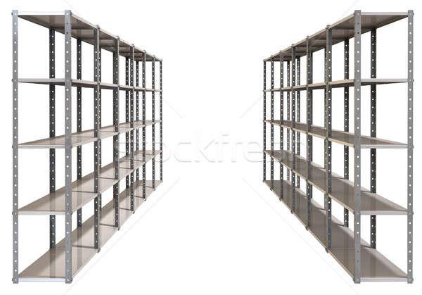 Warehouse Shelves Pair Perspective Stock photo © albund