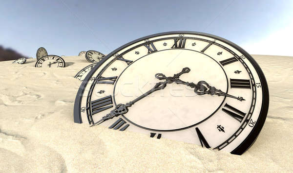 Antique Clocks In Desert Sand Closeup Stock photo © albund
