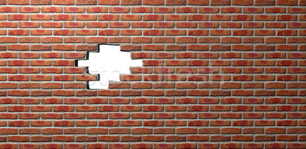 Face Brick Wall With Hole Stock photo © albund