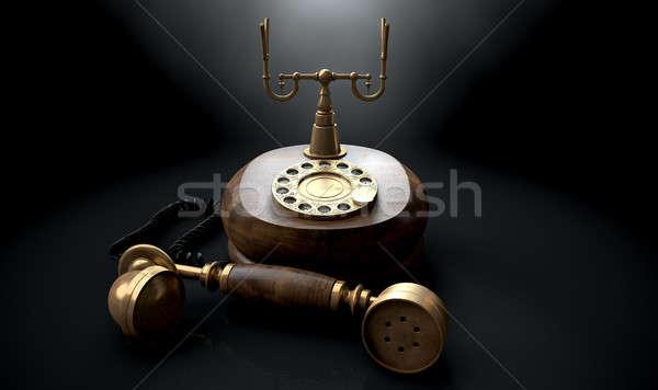 Vintage téléphone sombre crochet bois Photo stock © albund