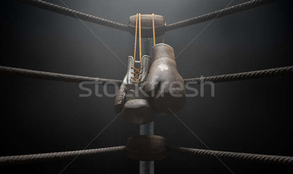 Vintage Boxing  Corner And Hung Up Gloves Stock photo © albund