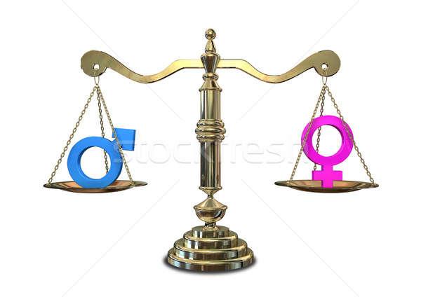 Genere uguaglianza bilanciamento scala oro giustizia Foto d'archivio © albund