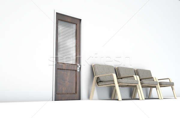 Wachtkamer stoelen 3d render houten deur glas Stockfoto © albund