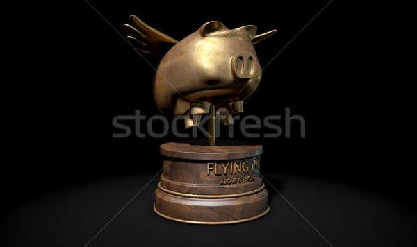 Flying Pig Trophy Award Stock photo © albund