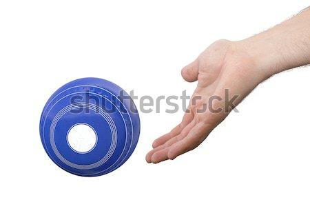 Stockfoto: Hand · gazon · kom · mannelijke · bowling · houten