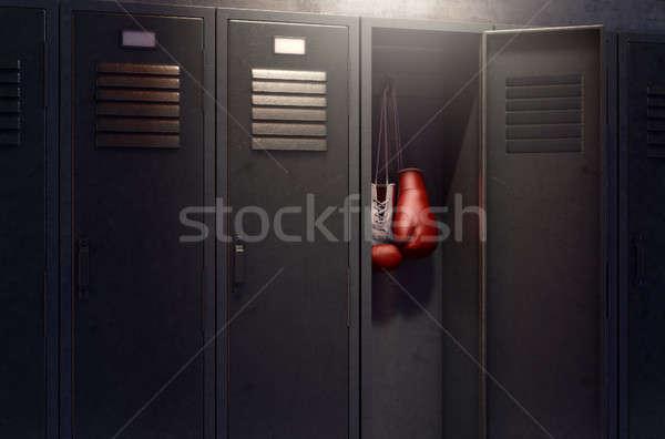 Nyitva öltözőszekrény felfelé boxkesztyűk csetepaté fém Stock fotó © albund