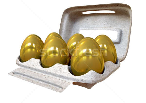 Six Golden Eggs In An Egg Carton Stock photo © albund