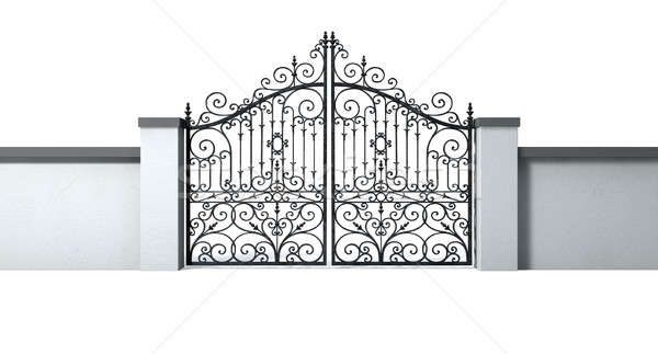 Closed Ornate Gates And Wall Stock photo © albund