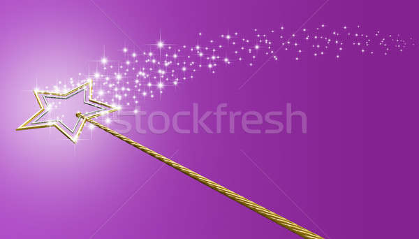 Gold And Silver Magic Wand With Sparkles Stock photo © albund