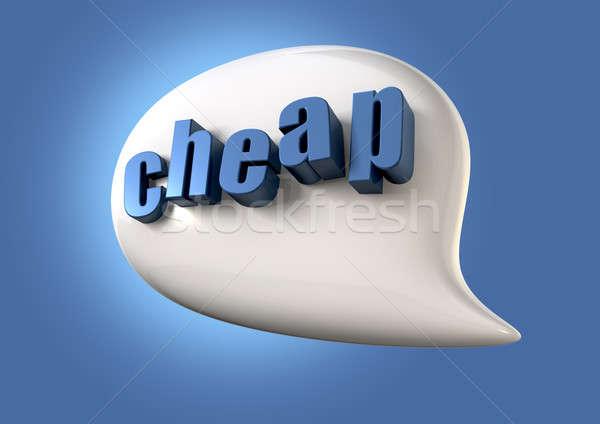 Konuşmak ucuz beyaz konuşma balonu kelime mavi Stok fotoğraf © albund
