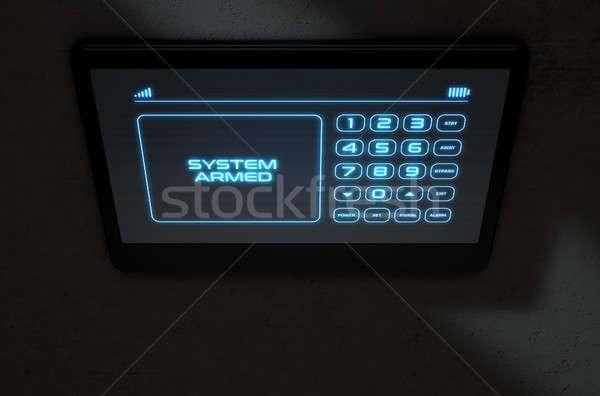 Moderno interattivo home sicurezza rendering 3d touch screen Foto d'archivio © albund