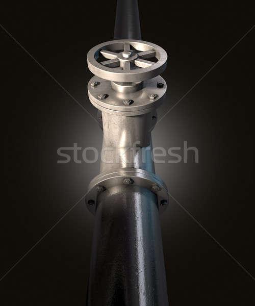 Metal válvula anexada tubo isolado escuro Foto stock © albund