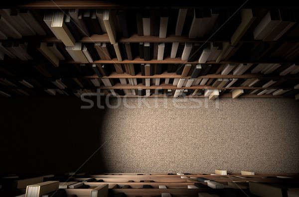 Biblioteki półka na książki przejście kierować górę widoku Zdjęcia stock © albund