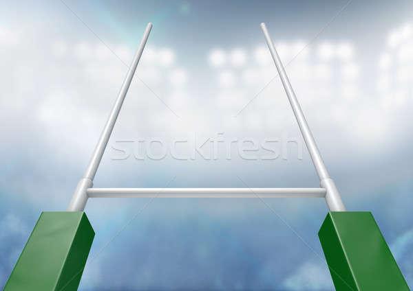Rugby Posts Stadium Night Stock photo © albund