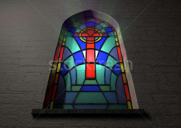 Witraże okno krucyfiks kolorowy plama szkła Zdjęcia stock © albund